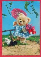155942 /  TEDDY BEAR , Ursidae , Bären , Ursidae UMBRELLA FLOWERS , Dog Chiens Hunde Cani Honden Perros - KRUGER 900/99 - Jeux Et Jouets