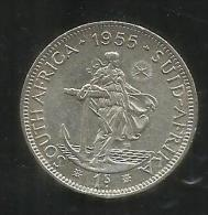 SOUTH AFRICA 1955 SILVER COIN 1 SHILLING MONETA D'ARGENTO 1 SCELLINO - South Africa