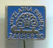 FIGURE SKATING - Zagreb, Croatia, 1980. Vintage Pin, Badge - Patinaje Artístico