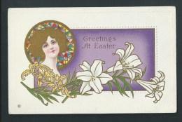 Art-Nouveau. Chromo Lithographie Dorée. Jolie Femme Et Lys. Relief. Greetings At Easter. Série 307 C. - Illustrators & Photographers