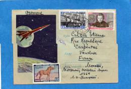 MARCOPHILIE-Lettre  Enveloppe Illustrée -espace-fusée Cad 1961- 2 Stamps N°2257 Lénine Enfant Pour  Françe - Marcophilie - EMA (Empreintes Machines)