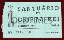 PORTUGAL - ALMADA - SANTUARIO DE CRISTO-REI - BILHETE DE ASCENSOR - 1960 OLD TICKET - Billetes De Transporte
