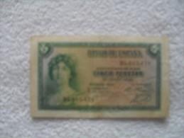 Billet De  5  Peseta De 1935  DL  607.458 - Espagne