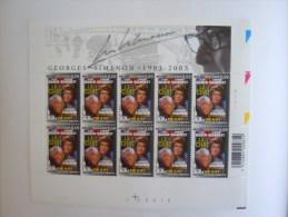 België Belgique 2003 Le Chat De Kat Jean Gabin Simone Signoret Georges Simenon Feuillet PLANCHE 1 3168 Yv 3161 MNH ** - Cinéma