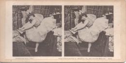 Photo Stéréoscopique Théâtre De La Renaissance Paris Petite Poucette Madame Mily Meyer Dans Sa Loge Actrice Comédienne - Stereoscopio