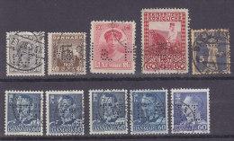 10 Marken  Dänemark, Luxemburg, Österreich, Schweiz, Firmenlochung, Perfin, Gestempelt - Lots & Kiloware (max. 999 Stück)