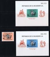 1969 Emission Du Président Kennedy Surchargée «Alunissage De Apollo 11»  1 Timbre Et 2 Blocs Tous ** - El Salvador