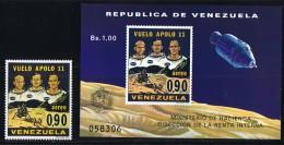1969  Alunissage De Apollo 11  Timbre Et Bloc Feuillet ** - Venezuela