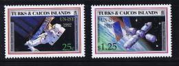 1992   Année Internationale De L'espace   2 Timbres ** - Turks & Caicos (I. Turques Et Caïques)
