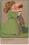 PFB #6310, Love's Golden Dream, Caricature Couple Embrace, On C1900s/10s Vintage Embossed Postcard