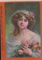 """CPA  FANTAISIES   """"ROSE DE MAI  D. Enjolras""""  FEMME Avec Bouquet De Rose   OCT 2014 Div 744 - Künstlerkarten"""