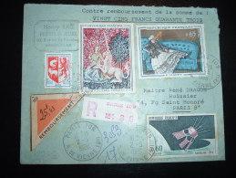 LR CR TP LICORNE 1,00F+ MANET 0,65F+ SATELLITE D1 0,60F+ AUCH 0,05F OBL.2-5-1966 PARIS 109 (75) - Poststempel (Briefe)