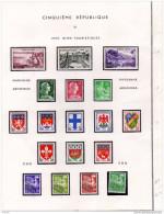 FRANCE*lot- Sur Feuille D´album-ordre Parution 1959-timbres Gomme Origine 1ère Charnière Fine-cote 50,75 - Stamps