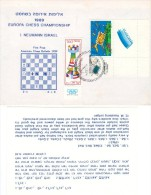 Europe Chess Championship In Israel 1989 Cover. With A Chess Riddle-special Card - Schaken