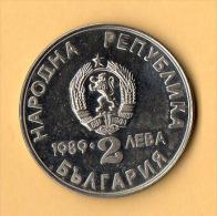 BULGARIA - 1989, 2 Leva, CuNi - Bulgaria
