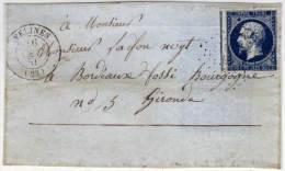 VELINES - Devant De Lettre Avec PC 3510 (Indice 12) Sur Yvert 14 Ab  (73382) - 1849-1876: Période Classique