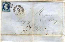 VILLEFRANCHE DE ROUERGUE - Lettre (LAC)avec PC 3610 (Indice 3) Sur Yvert 14 A  (73385) - 1849-1876: Période Classique