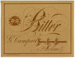 ETICHETTA PUBBLICITà BITTER G. CAMPARI MILANO - Alcolici