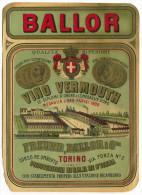 ETICHETTA PUBBLICITà VINO VERMOUTH BALLOR FREUND TORINO - Alcolici