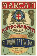 ETICHETTA PUBBLICITà PREMIATA FABBRICA DI LIQUORI PIETRO MARCATI SLIWOWITZ ITALIANO TREVISO - Alcolici