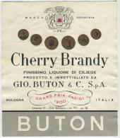 ETICHETTA PUBBLICITà LIQUORE DI CILIEGE CHERRY BRANDY GIO. BUTON BOLOGNA - Alcolici