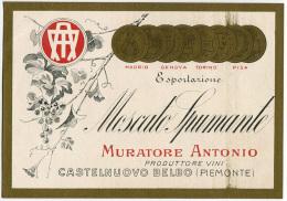 ETICHETTA PUBBLICITà MOSCATO SPUMANTE MURATORE ANTONIO CASTELNUOVO BELBO ASTI - Alcolici
