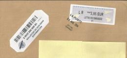 """Pli 22 X 16 Avec Cachet Manuel """"LA POSTE 09 AVR. 2014 031180 GANNAT"""" Sur Vignette D'ordinateur - Postmark Collection (Covers)"""