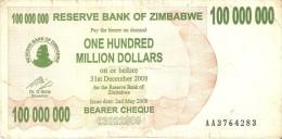 BILLETE DE ZIMBAWE DE 100000000 DOLLARS DEL AÑO 2008  (BANKNOTE) - Zimbabwe