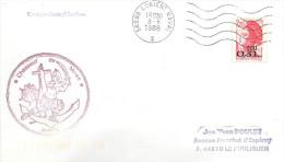 CHASSEUR DE MINES  PERSEE  LORIENT NAVAL 8/06/1988 - Marcophilie (Lettres)