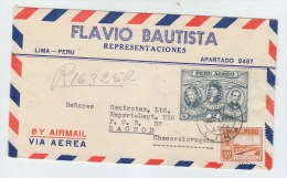 Peru/Czechoslovakia REGISTERED AIRMAIL COVER 1952 - Peru