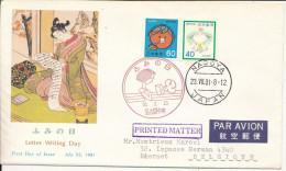 JAPON JAPAN 1378 & 1379 FDC 1er Jour Letter Writing Day Tableau - FDC