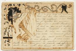 Carte Faite Main Sur Papier De Arches Envoi A Charleville Satabin Decor Moyen Age 1903 - Andere