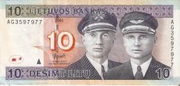 BILLETE DE LITUANIA DE 10 LITAS DEL  AÑO 2001   (BANKNOTE) - Lituanie