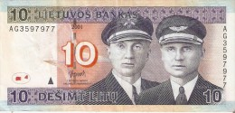 BILLETE DE LITUANIA DE 10 LITAS DEL  AÑO 2001   (BANKNOTE) - Lituania