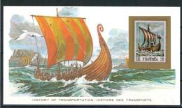 Fujeira, Viking Boat (postcard + Stamp, Mint, **) Tra75 - Barcos
