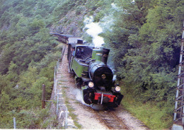 Cpsm 07 Chemin De Fer Du Vivarais Ligne Touron Lamastre Train A Vapeur Dans Larampe  De Mordane Loco.n.403 Voit.c F D - Francia