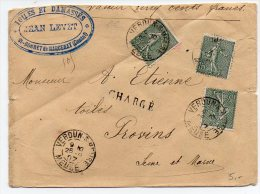 Semeuse 15c X3 Sur Lettre Chargée (VD 500F) De 1907 - Enveloppe Retaillée Dans Le Haut - 1877-1920: Semi Modern Period