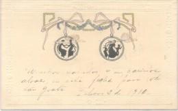 SILHOUETTES SILUETAS CPA  VOYAGEE 1910 NECOCHEA ARGENTINA GOFRADA GAUFFREE - Silhouetkaarten