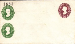 Mexico Unused Postal Stationery Pre-stamped With 5c And 2 10c Black # Stamp '1883' Upper Left - Mexique