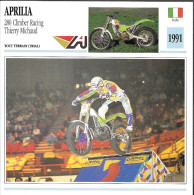 1991 - FICHE TECHNIQUE MOTO - DÉTAIL COMPLET À L´ENDOS - APRILIA 280 CLIMBER RACING THIERRY MICHAUD - ITALIE - Motos