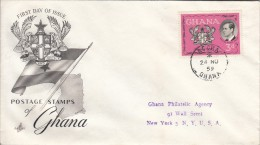 Ghana FDC Scott #66 3p Prince Philip - Royal Visit - Ghana (1957-...)