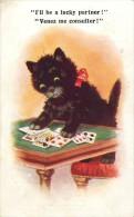 Ref C362-illustrateur- Le Chat Et Le Jeu De Cartes A Jouer - Theme Chats -cat -cats - Illustrateurs  - Carte Bon Etat  - - Chats