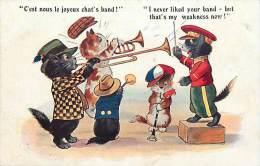 Ref C360-illustrateur- Chats Musiciens -musique   - Theme Chats -cat -cats - Illustrateurs  - Carte Bon Etat  - - Chats
