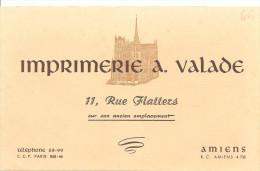 Buvard Imprimerie A. Valade 11, Rue Des Flatters à Amiens - Stationeries (flat Articles)