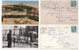 LYON - 2 CPA - Place Bellecour -L' Elephant - Flammes De Lyon Gare (Exposition Textile Lille  (73423) - Lyon