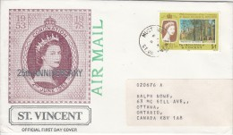 St. Vincent Grenadines Cover To Canada Franked With Scott #155 $1 Winchester Cathedral - St.Vincent & Grenadines