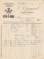 01 PONT DE VEYLE FACTURE 1920  Fabrique De BISCUITS Spécialité De PATIENCES E. CHAUVOT  - B24 - Francia