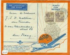 LP * 500e POSTVLUCHT NEDERLANDS-INDIE * BRIEFOMSLAG Uit 1937 Van TJISAROEA Via BUITENZORG Naar DEN HAAG (9235) - Niederländisch-Indien