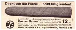 Original Werbung - 1935 - Zigarrenfabrik H. Schmidt & Co. In Bremen , Zigarre , Cigarre !!! - Dokumente