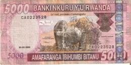 BILLETE DE RWANDA DE 5000 FRANCS DEL AÑO 2009 (BANKNOTE) GORILA-GORILLA - Rwanda